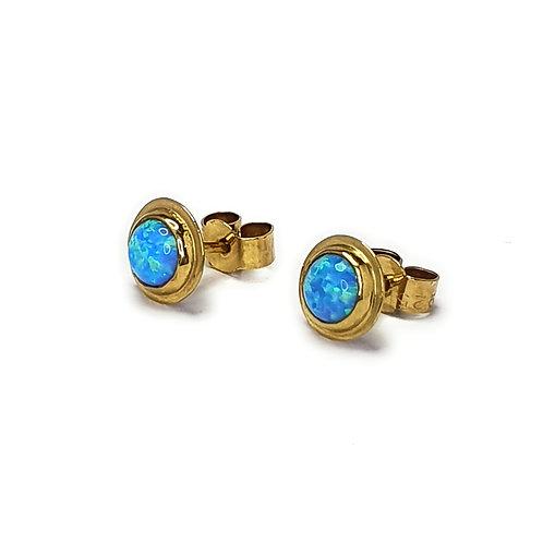 Gold Vermeil Blue Opal Earrings