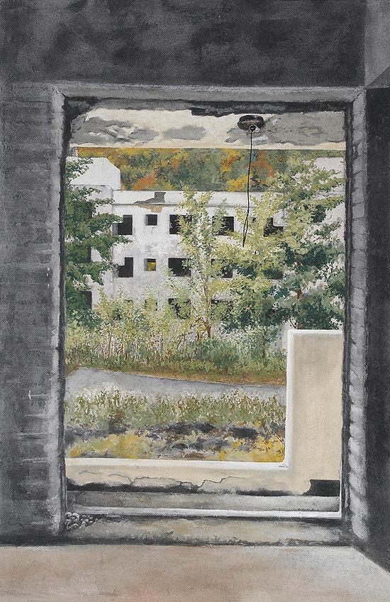02. Emptiness- 한보아파트  200 x 130cm 한지에 채색