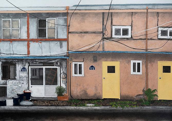 오래된 집-만석동 2018(오른쪽)-162x454cm,한지에 채색,201