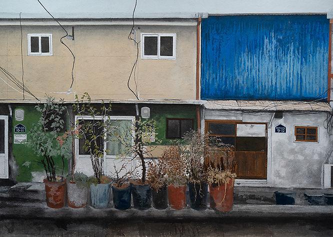 오래된 집- 만석동 2018(왼쪽)-162x454cm,한지에 채색,201