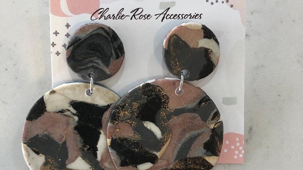 Full circle drop earrings - Marbled