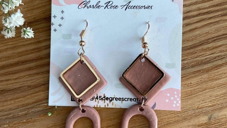 Pink beige dangly earrings