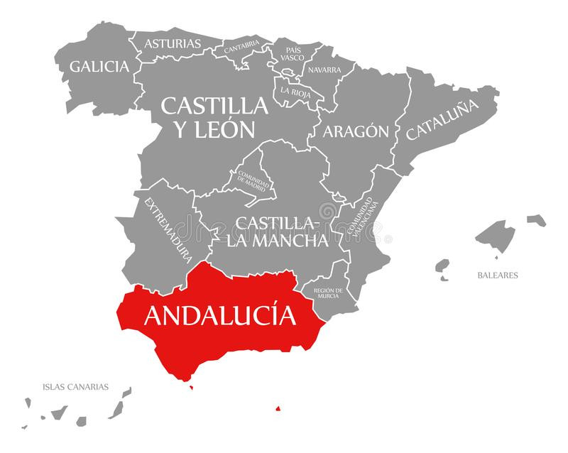 Map of Spain, highlighting Andalusia, the birthplace of Flamenco