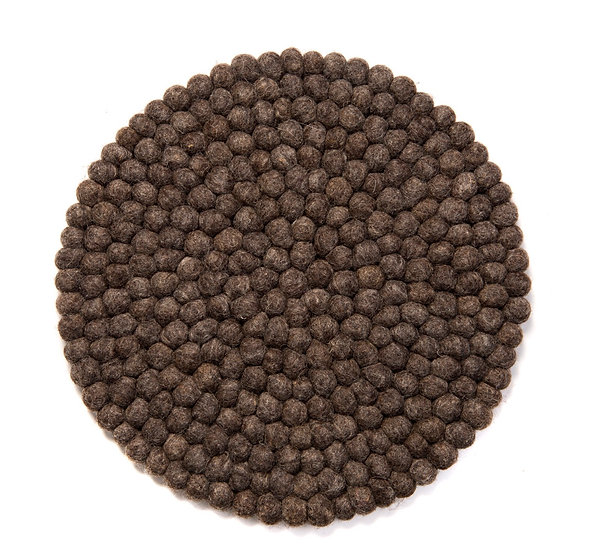 Natural wool mørkebrun stolehynde