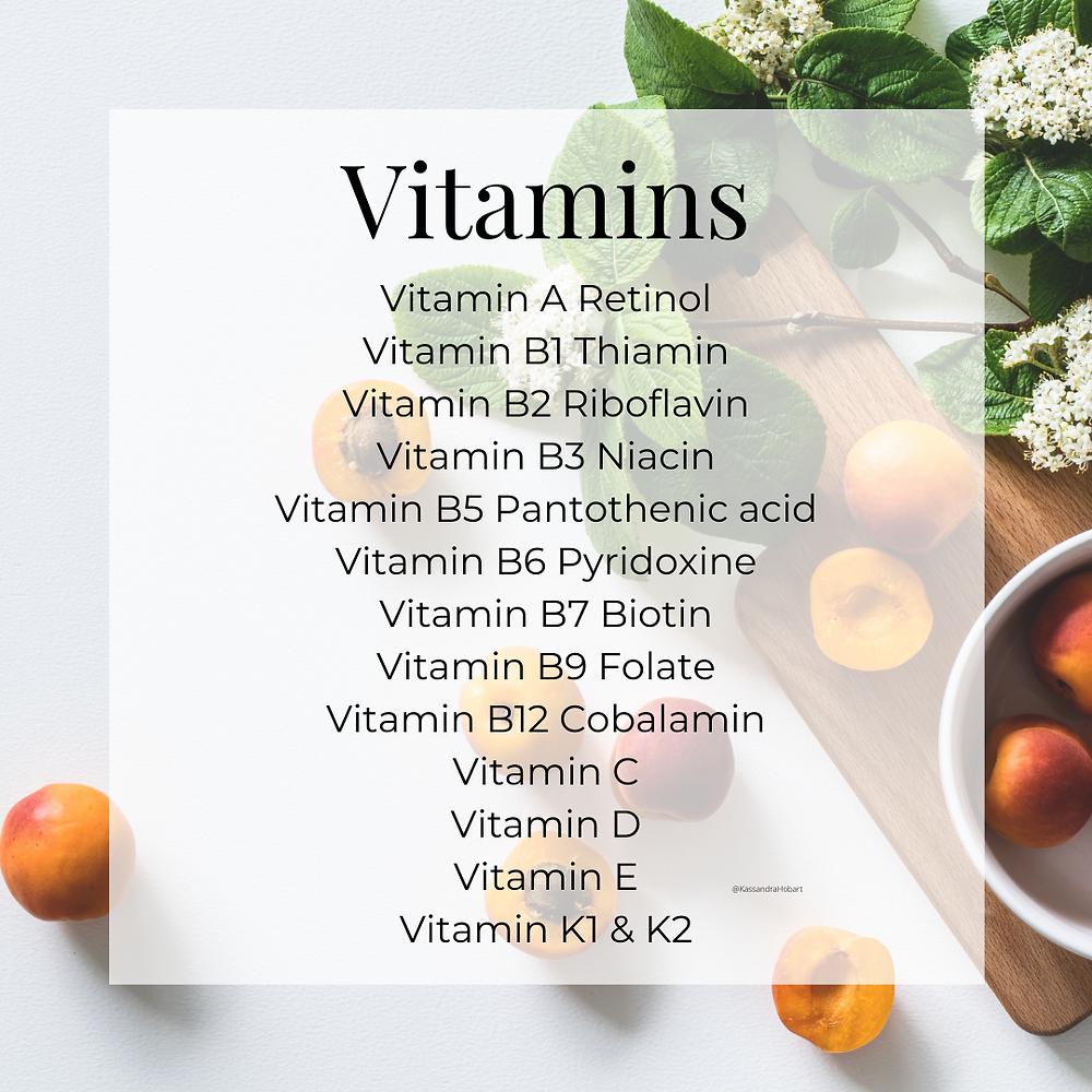 Vitamins list by Kassandra Hobart, FNTP