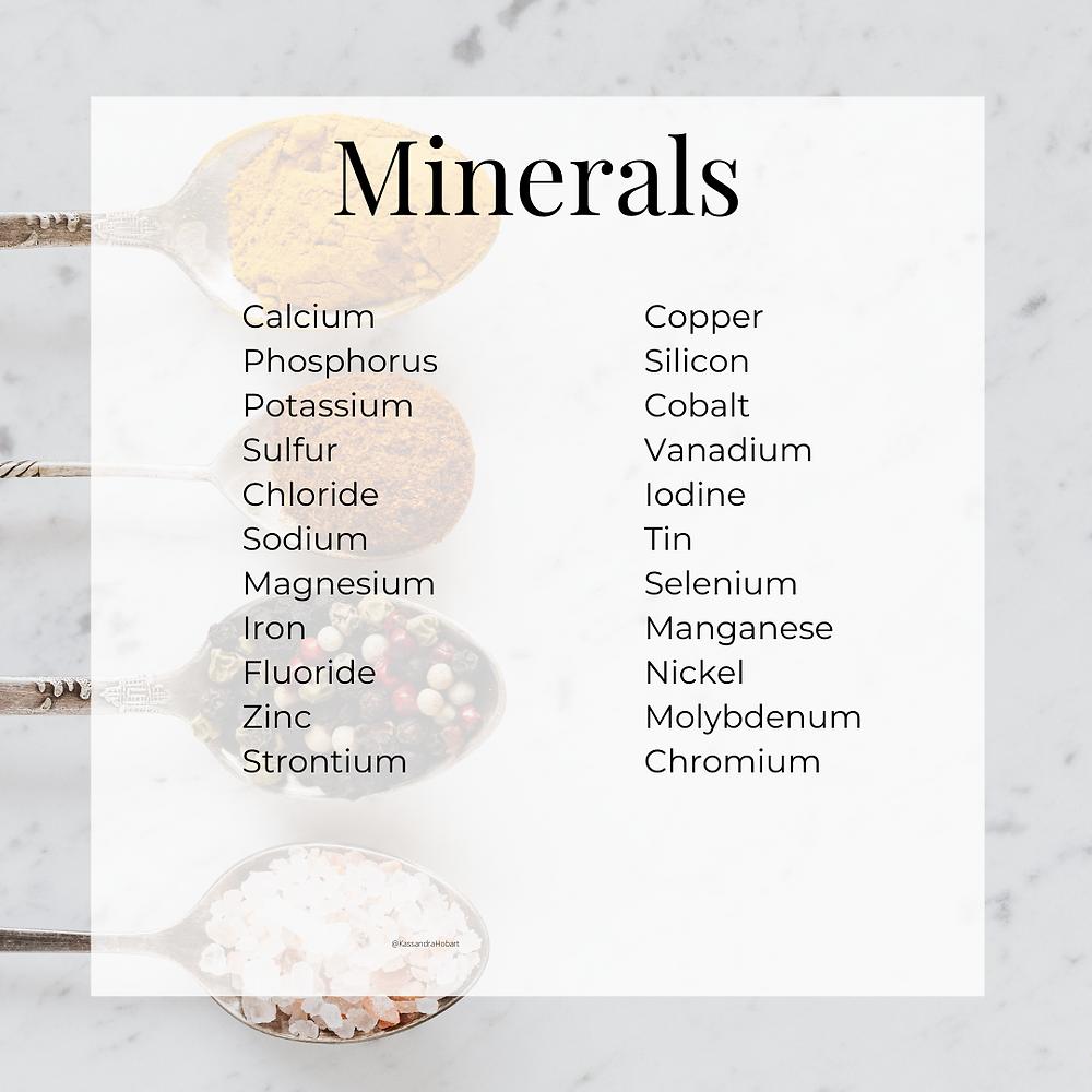 Mineral list by Kassandra Hobart, FNTP