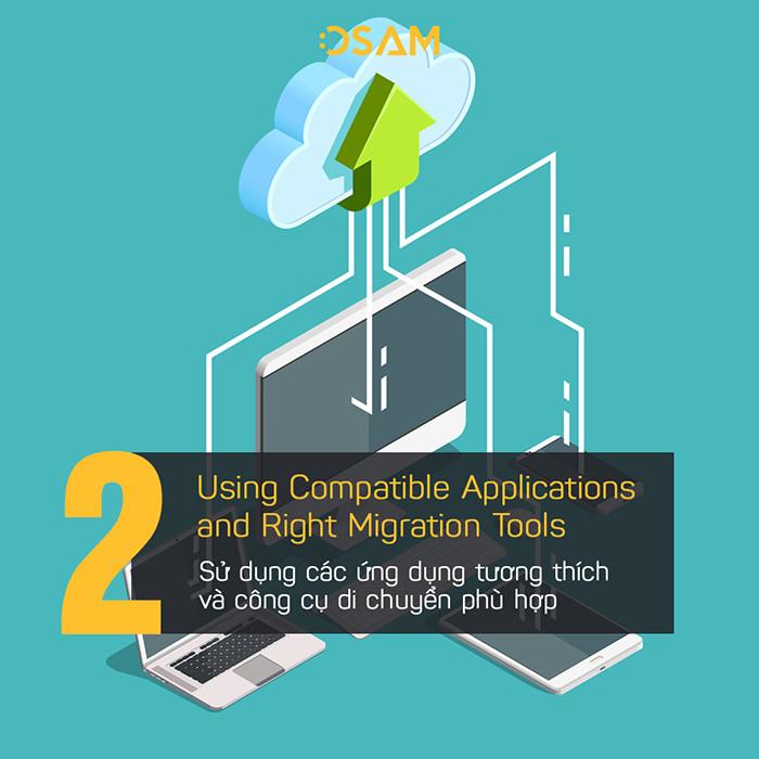 Sử dụng các ứng dụng tương thích và công cụ di chuyển phù hợp