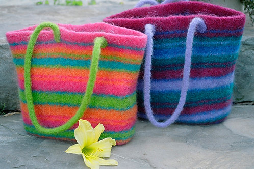 Felted Fiesta Striped Tote