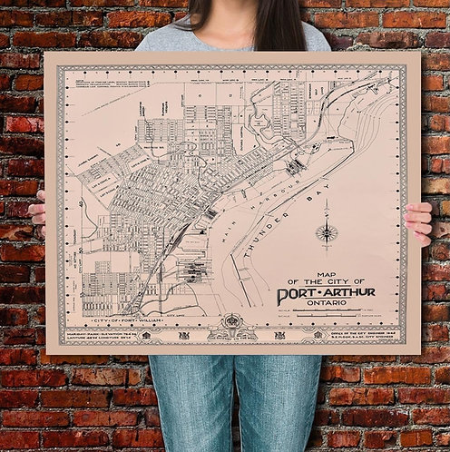 Port Arthur Vintage  Map Print   20x24""