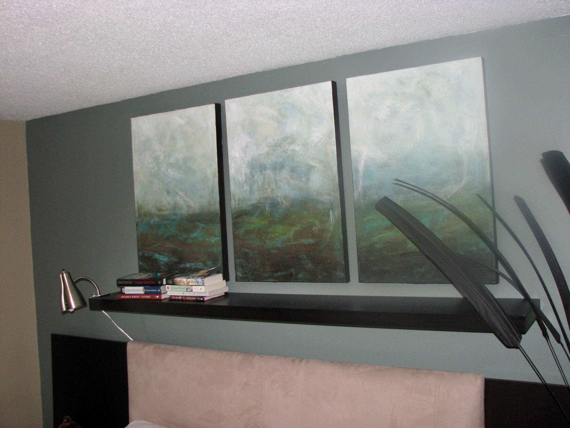3 Panel Teal Abstract  (sold)
