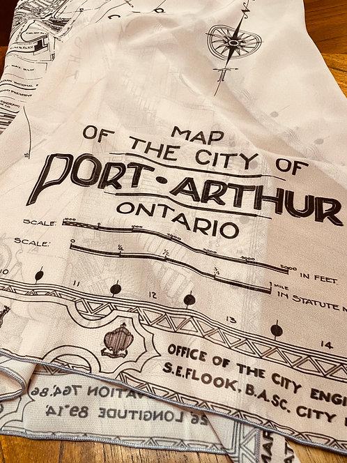 Port Arthur Vintage Map Chiffon Scarf