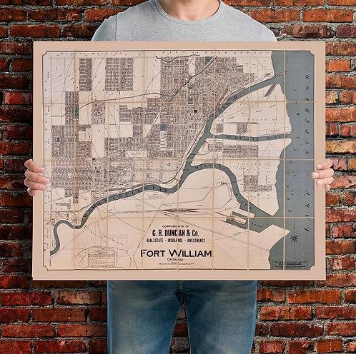 "Fort William Vintage  Map Print   20x24"""