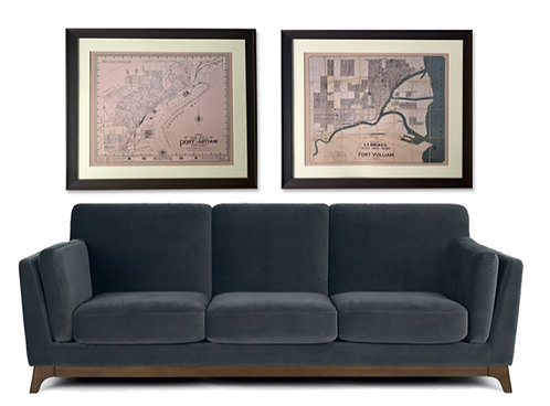 Set of 2 Custom Framed Thunder Bay Vintage Maps