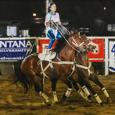 WORLD CHAMP HALEY GANZEL PERFORMING AT GERRY RODEO