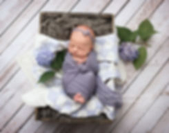 newborn baby girl in purple wrap and rustic crate with flowers hydrangeas and antique quilt