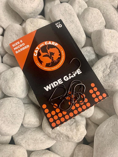 Hooks Wide Gape Size 8 Micro Barbed