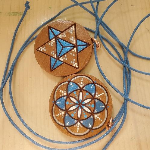 Electric Blue Seed of Life & Merkaba Pendant