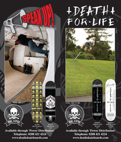 Andy Scott and Scott 'Horsey' Walker for Death Skateboards published in Sidewalk Magazine.