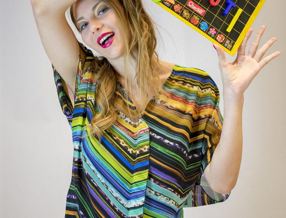 caftano, caftano multicolor, kaftano in georgette, maxi blusa
