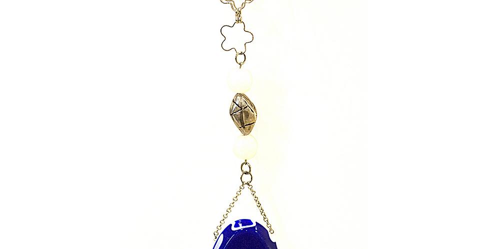 ciondolo in resina, accessori Sidoti, ciondolo bianco blu, collana,