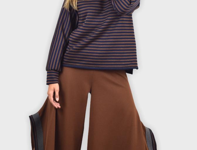 pantalone, pantalone gaucho, pantalone largo, pantalone con spacco, pantalone fashion, madie Italy,