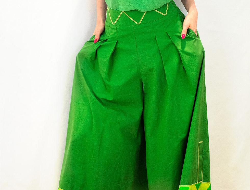 pantalone largo, pantalone colorato, green, cotone, seta, pantalone con bordo in seta,