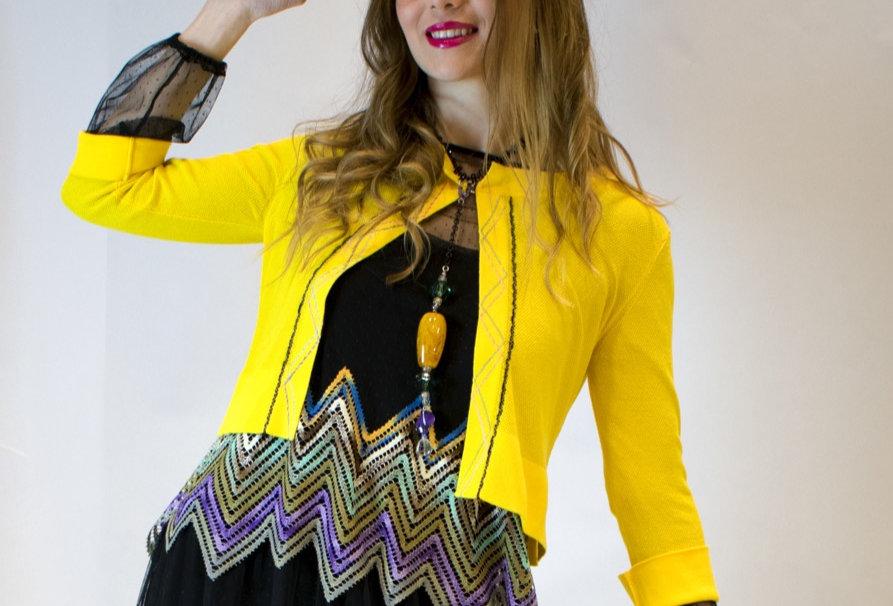 giacchino in maglia, giacchino estivo, giacchino con manica 3/4, giacchino chanel, giallo,