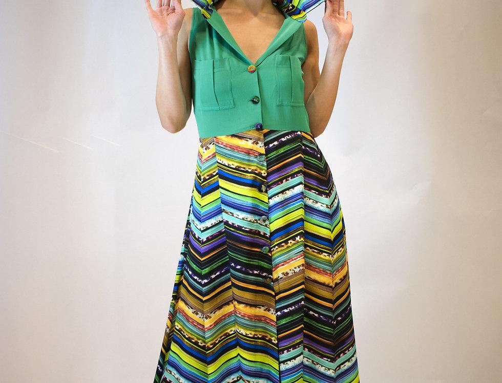 abito. abito chemisier, abito lungo, abito chemisier lungo, abito con fantasia, abito multicolor, abito abbottonato davanti,