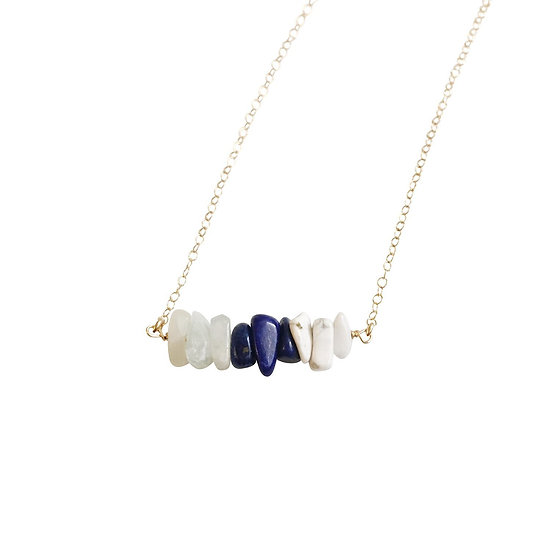 Aquamarine, Sodalite and White Howlite Gemstone Necklace