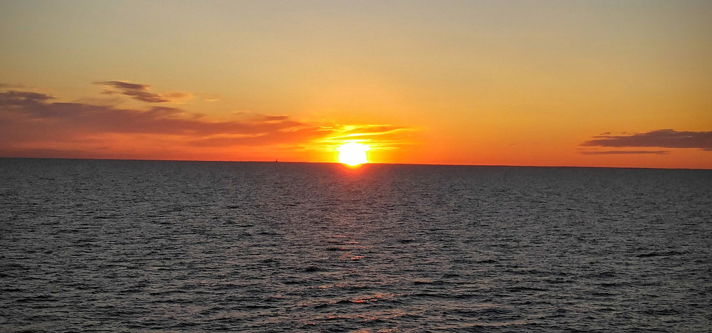 Sunset at the middle of the Baltic Sea