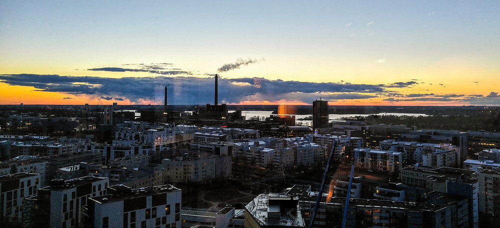 A sunset view from 16th floor Clarion Hotel Helsinki bar