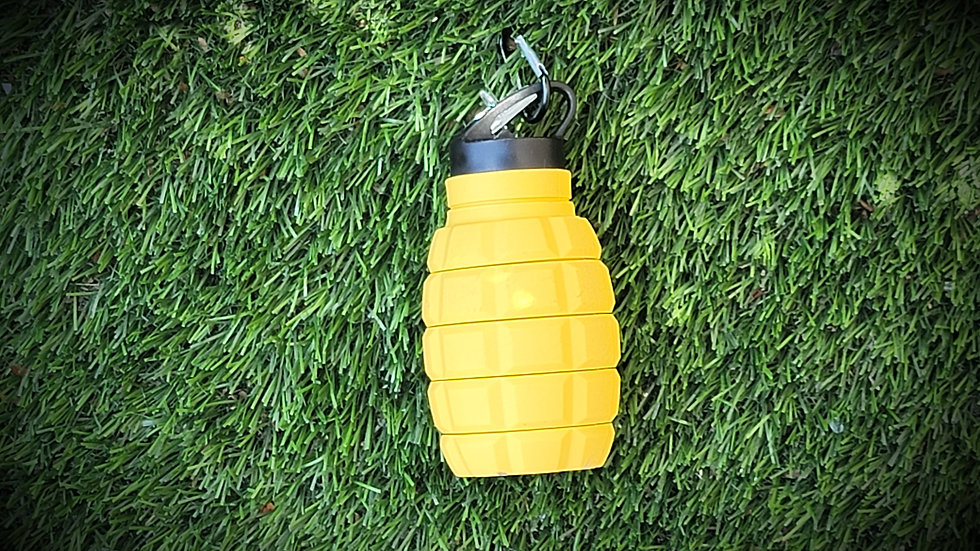 Yellow Silicone Water Bottle Grenade Shape