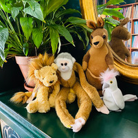 Stuffed animals used by Stacey Loewen (piano teacher, harp teacher at Harp on the Hill Studio) to teach piano technique to young piano students