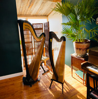 Instruments (harps and piano) used for music lessons at Harp on the Hill Studio