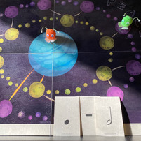 Theory game to teach basic note values--featuring furry pompom aliens