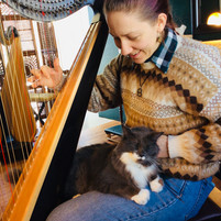 Student takes a break from harp lessons at Harp on the Hill Studio
