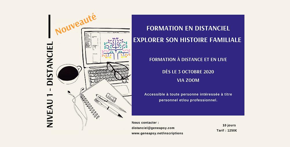 """Dès le 3 octobre 2020 à distance, début de la formation à distance Généapsy Niveau 1 : """"explorer son histoire familiale"""" Via Zoom!"""
