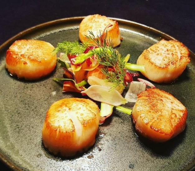 Seared Scallops and Garden Vegetables