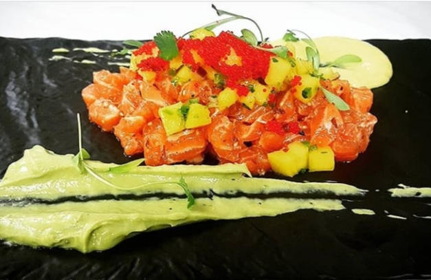 Deconstructed Salmon Tartare with Avocado Mouse
