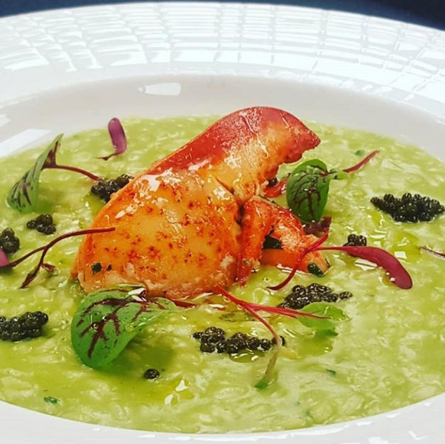 Citrus Buttered Lobster on Asparagus Risotto