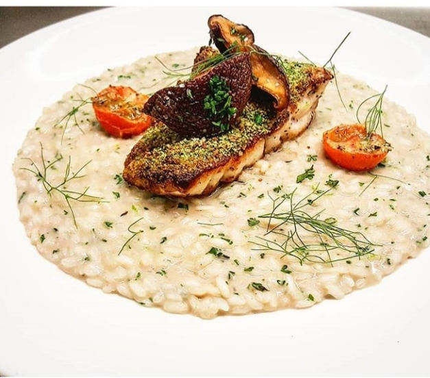 Herb Crusted Snapper on Mushroom Risotto