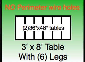 3x8 table -No Holes
