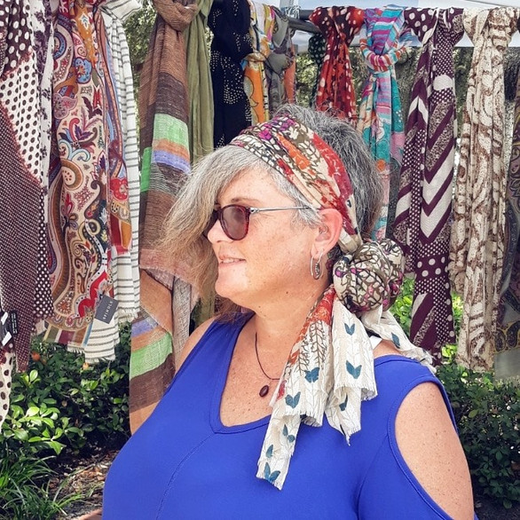 Rocking a SPINDLE scarf as a headband