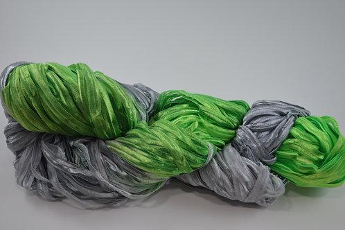 Green and gray Ribbon yarn