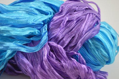 Purple and teal Ribbon yarn