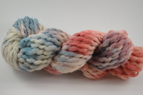 Red, blue and white thick and thin Super Bulky Wool