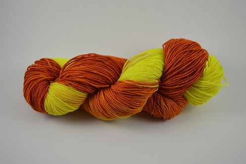 Yellow and orange Sparkle Sock Yarn