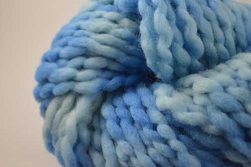 Blue and White thick and thin Super Bulky Wool