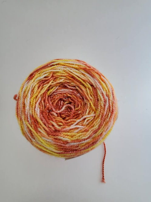 Red, Orange and Yellow Dyed By Darrell Self Striping Sock