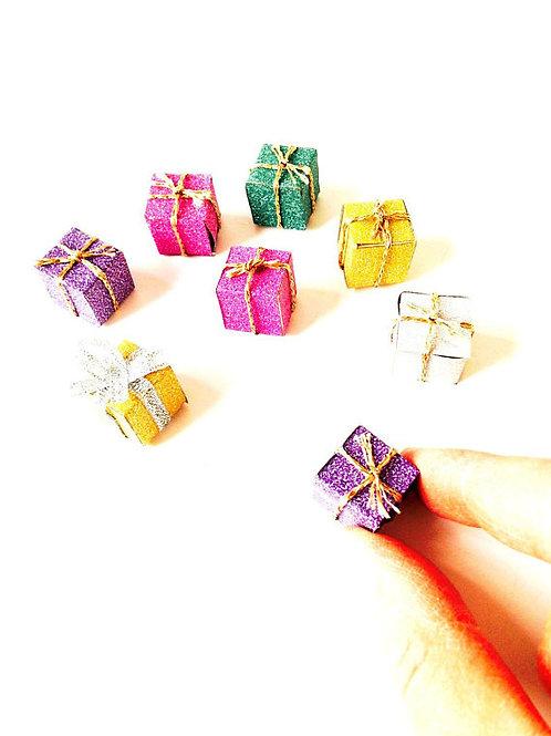Cadeaux miniatures pailletés, lot de 8 faits main, multicolores